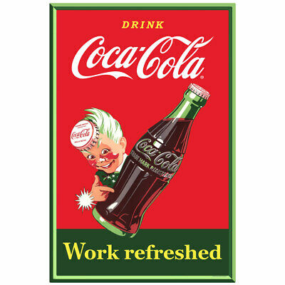 Coca-Cola Work Refreshed Sprite Boy Wall Decal 16 x 24 Vintage Style Coke Decor