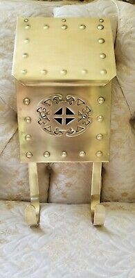 Beautiful Vintage Classic Solid Brass Mailbox ~ Upright Wall Mount -all Original