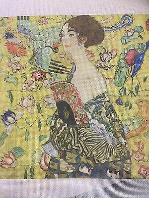 needlepoint canvas   KLIMT      LADY WITH THE FAN