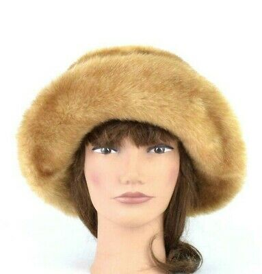 9bf26cb6f49643 Vtg 90s Westbound Plush Brown Faux Fur Hat Cloche Bucket Bowler Womens One  Size