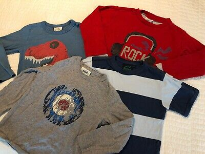 Boden Boys Lot - Four Shirts Long & Short Sleeve Blue Red Gray 3-4 Years 3T 4T