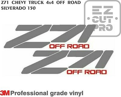2X Z71 CHEVY TRUCK 4x4 OFF ROAD SILVERADO 1500 Sticker Vinyl Decal SILVER 1990's