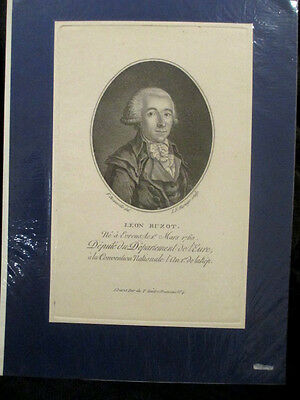 200 YEARS OLD 1800'S ANTIQUE ETCHING BUZOT FRENCH REVOLUTION HEAD OF 1st EURE
