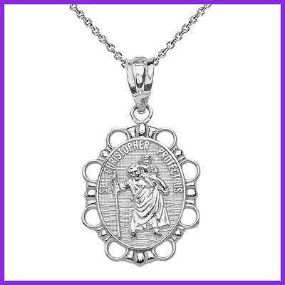 STERLING SILVER St Christopher Medal Catholic Charm Traveler Protection Necklace