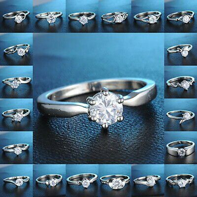 Silver Fashion Women Crystal Rhinestone Engagement Wedding Rings Jewellery Gift