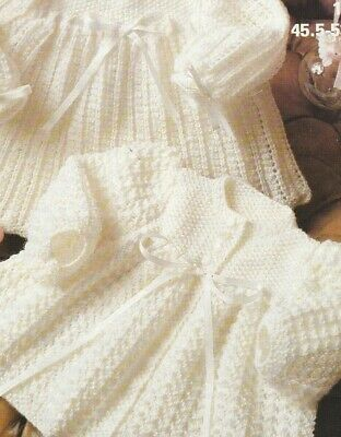 Vintage Baby Knitting pattern Dress & Jacket GORGEOUS Lacy Design 4 Ply