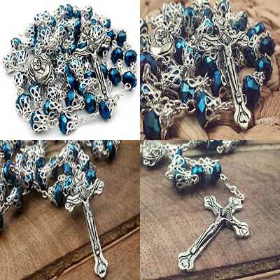 Long Beaded Catholic Rosary Deep BLUE Crystal Beads Prayer Necklace Holy Medal &