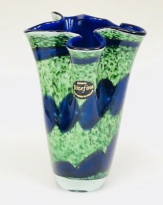 NEW Jozefina Krosno Poland Blue Green Hand Blown Art Glass Handkerchief Vase