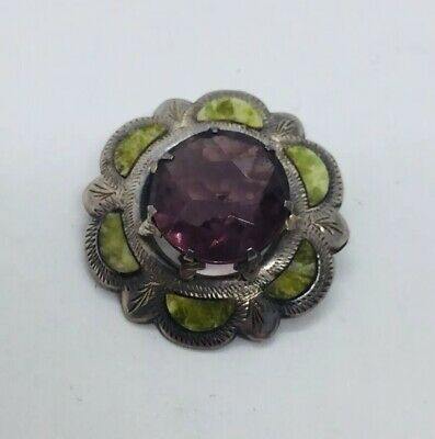 Antique Victorian Scottish Sterling Silver Amethyst & Green Agate Pin