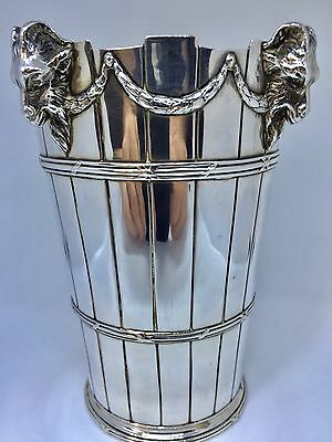 Large French Solid Silver Vase C1880 - Swags Horns Rams Heads- Empire