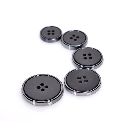 10Pcs Round Resin Black 4 Holes Flat Sewing Buttons For Suit Blazer Coat Jacket