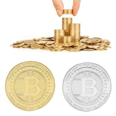 1 OZ Gold Coin BITCOIN ROUND ANONYMOUS MAN Commemorative Collectors Plated Coin