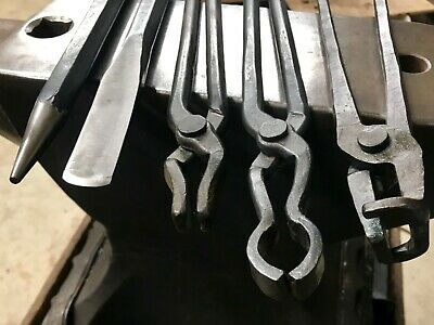 Blacksmith Tools NEW Set 3 Tongs Chisel & Round Punch! -Essential Forging Tools-