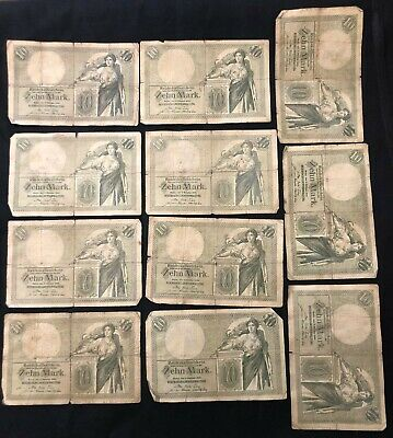 RARE 11 pcs Germany 10 mark banknotes 1906 circulated