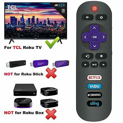 RC280 Remote Control Netflix Vudu Sling CBSNEWS for TCL ROKU TV 40FS3750 49FP110