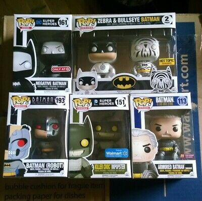 Batman Funko Pop Lot Negative Bullseye Zebra Robot Unmasked Killer Croc