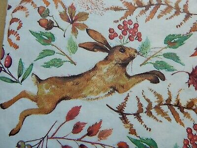 New Laura Ashley Chasing Hare 50 x Paper Napkins Arts & Crafts Decoupage 13""