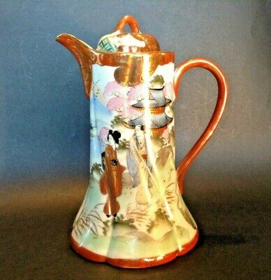 Nippon Hand Painted Geisha Chocolate Or Teapot - Red And Gold Imari Rims - Japan
