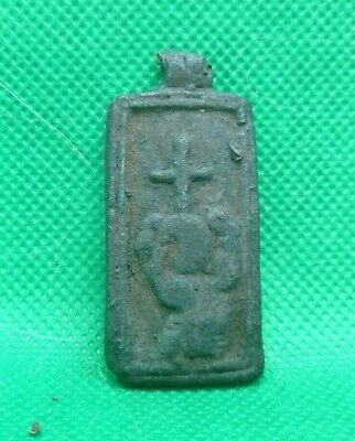 Medieval Early Christian Bronze Icon Pendant With Cross - 1000 Ad