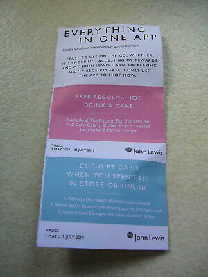 John Lewis vouchers regular hot drink and cake valid to July 31 plus £5 off £50