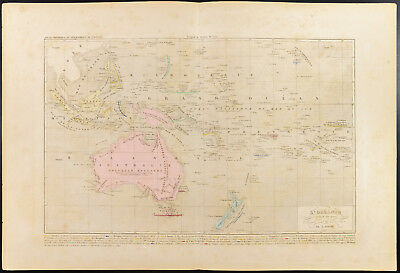 Map Geographical Of Monin Oceania Australia Antique Old Map Of 1836c