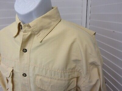 3dc648725d8bc Orvis Mens Vented Long Sleeve Button Down Yellow Fishing Shirt Size L Large