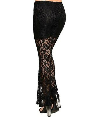 L Tribal Salsa Tango Gothic Goth Belly Dance Dancing Slit Palazzo Low Rise Pants