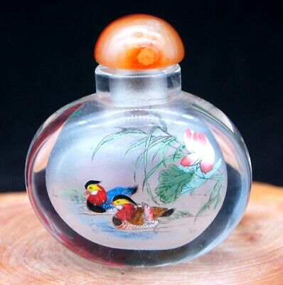 Chinese Collectible Handmade inside painted Great Wall glass snuff bottle 2