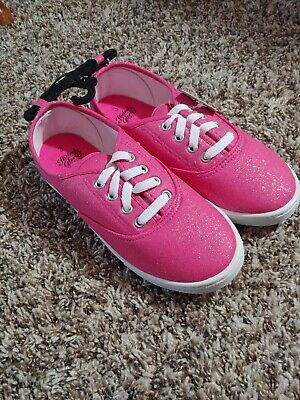 Faded Glory Girls Glitter Lace-up Canvas Casual Shoe Size 3 Hot Pink Sparkly