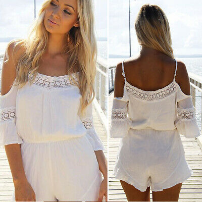 Women's Ladies Summer Holiday Casual Mini Playsuit Jumpsuit Beach Romper Shorts