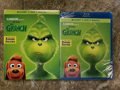 Dr. Seuss' The Grinch (Blu-Ray + DVD + Digital) New W/ Slipcover , Free Shipping