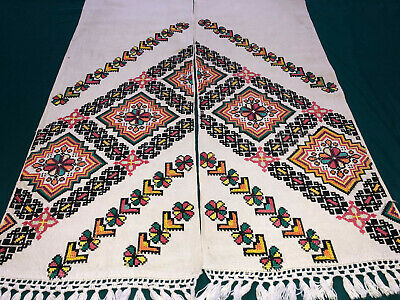 Vintage Embroidered Ukrainian folk towel rushnik handmade №1009