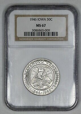 1946 Iowa Commemorative Half Dollar 50C Ngc Certified Ms 67 Mint State Unc (009)