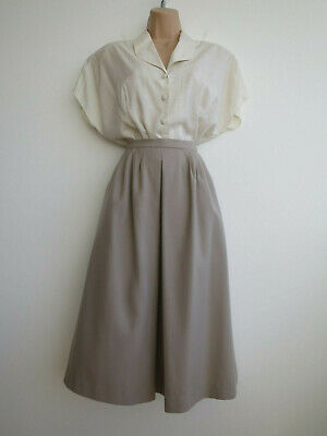 """Vintage wool skirt grey beige full to midi length with pockets 80s/90s 8 W24-25"""""""