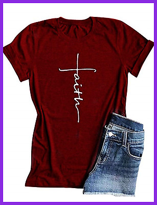 52f6ecc5 Women Cross Faith T Shirt Graphic Tees Christian Easter Shirts For Religio  Large