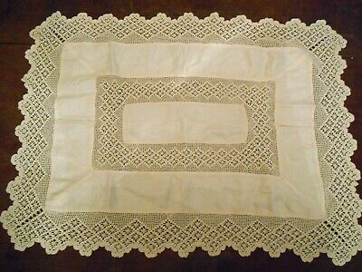 Antique Vintage Tablecloth Hand Made Crochet Lacy Cream Border Cotton Rectangle