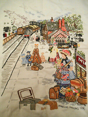 Picture Embroidery Old Train Station Flowers Ladies Cushion Panel Child Platform