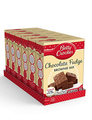 6x Betty Crocker Chocolate Fudge Brownie Cake Mix, 425g (Pack of 6), Home Baking
