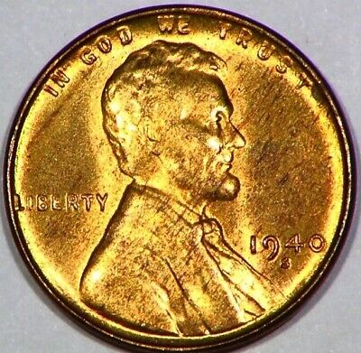 1940 S Lincoln Head Cent Uncirculated Wheatie 1C Nice Red Luster Coin 'C98