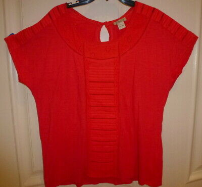 Lucky Brand Women's 1X Red Eyelet Stitch Peasant Top Blouse Shirt