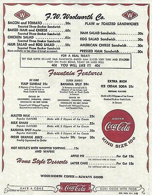Sept. 1960  F W Woolworth Co Lunch Counter Laminated Menu   A Digital Reprint