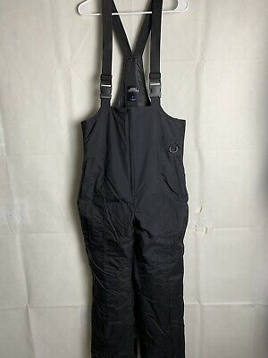 Men's Essential Insulated Pants Black Large Bib Snow Sport Overall Ski 4558