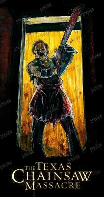 Texas Chainsaw Massacre Leather face fan ART Poster print Horror movie monsters
