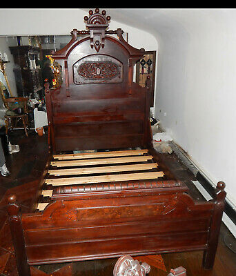 Antique Carved Wooden Queen Bed