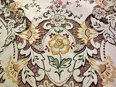"""Amazing Elaborately Embroidered & Cutwork Colored Madeira Tablecloth 97 x 64"""""""