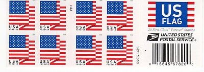 ONE BOOK OF 20 U.S. FLAG 2018 USPS FIRST CLASS FOREVER POSTAGE STAMPS / damage