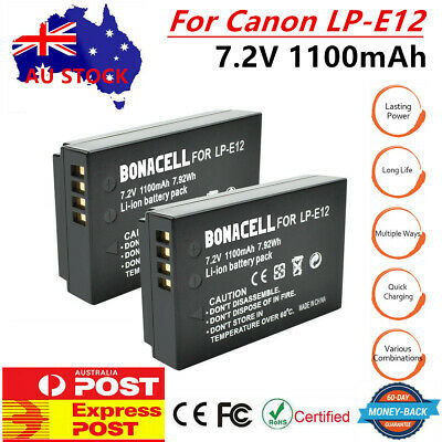 AU! 2 x LP-E12 Camera Battery for Canon Rebel SL1 EOS-M EOS M2 M10 Mirrorless PE