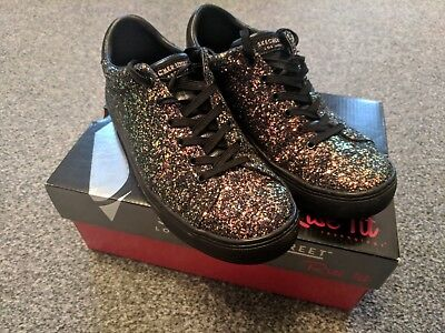 b47e91b55672a Skechers Womens Side Street - Awesome Sauce Shoe Black UK 4.5 Glitter  trainers