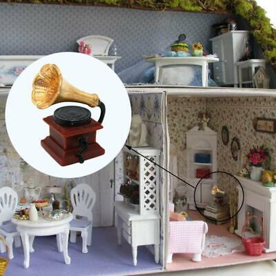 1:12 Miniature Retro Mini Phonograph Dollhouse DIY Doll House Decor Accessories