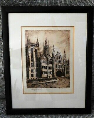 Pair  Of  Old  Framed  Etchings  Of  Marischal &  Kings  Colleges Aberdeen